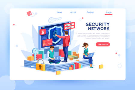 Data header, network law code against personal crime as confidential. Modern confidentiality. Website fingerprint, card check for access. Concept with characters, template isometric flat vector images