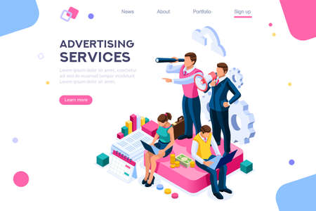 Advertisement, call for advertising. Engineering access to client cloud on announce data. Announcement, company audio contact. Infographic of integrated online alerts as amplifier of attention. Vector Illustration