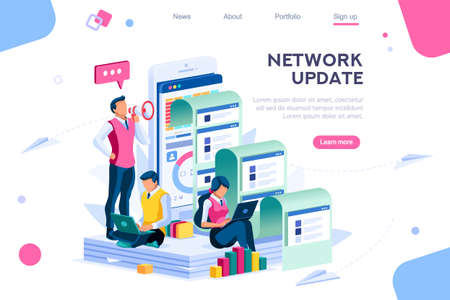 Company search for information. Communication on virtual network, update on website newspaper of info. Headline, latest news on social press multimedia cover for live application. Vector illustration