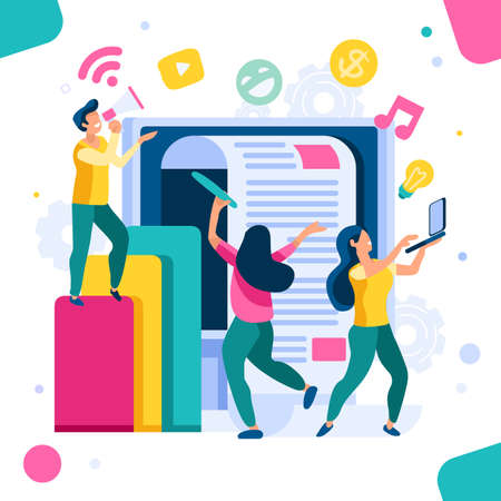 Company search for information. Communication on virtual network, update on website newspaper of info. Headline, latest news on social press multimedia cover for live application. Vector illustration Foto de archivo - 127688580