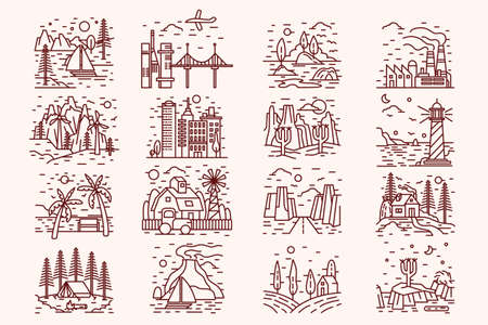 Isolated icons of landscape, monochrome, lineart style. Bridge set with lighthouse line contour, beach, seashore and ocean scenery. Natural linear beautiful collection. Vector illustration.