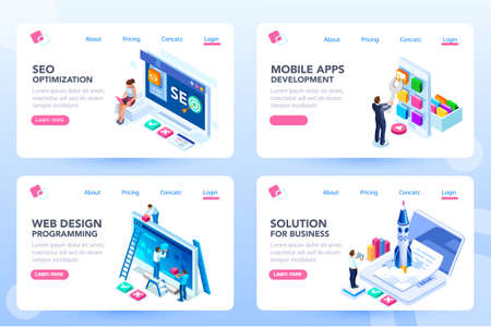 App for business solutions. Modern login on social menu homepage. Set of landing responsive ui for e-commerce. Coding layout and programming for an innovative optimization, html idea. Isometric vector Illustration