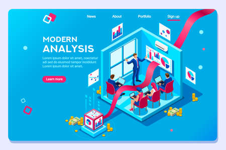 Template optimization, creative interactive color on workspace, development workplace. Infographic of analysing strategy engine with characters. Concept of analysis modern vector illustration flat set