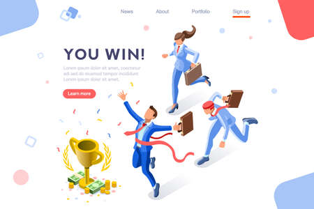 Cup challenge reward, top prize, happy target images. Luck on competition, financial event, fortune and victory for the growth. Winner with coins and employees. Flat isometric vector illustration. 向量圖像
