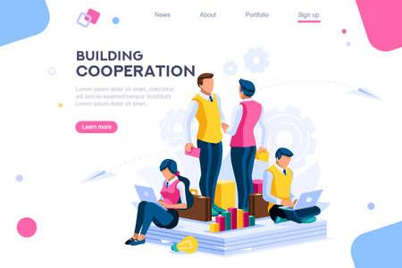 Messaggio per la cooperazione, grafici del piano comunitario. Paga per costruire una conversazione aziendale. Metafora dello sviluppo, unisci le persone su una serie di soluzioni impiantistiche. Illustrazione di vettore piatto moderno di fabbrica. Vettoriali
