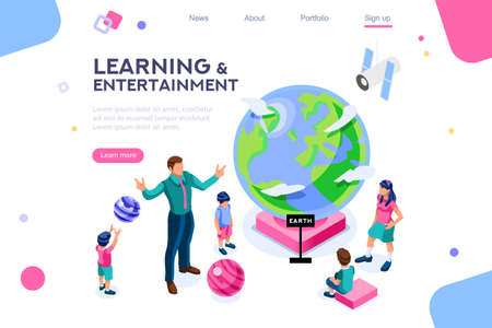 Persons visiting a flat museum, colorful pupil, male at system entertainment for kids. Many looking group and planet objects in the space body with parents. Flat isometric vector illustration. Illustration