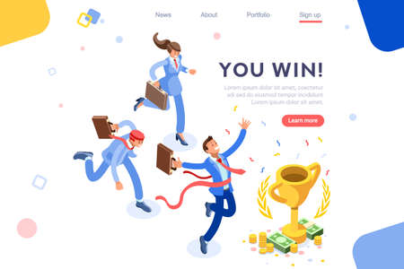Cup challenge reward, top prize, happy target images. Luck on competition, financial event, fortune and victory for the growth. Winner with coins and employees. Flat isometric vector illustration. Illustration