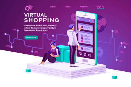 Virtual shopping. Software data interaction. Modern people interacting. Infographic, database graphs, retail chart, order interface tracking. Concept 3d flat isometric illustration. Characters vector. Illustration