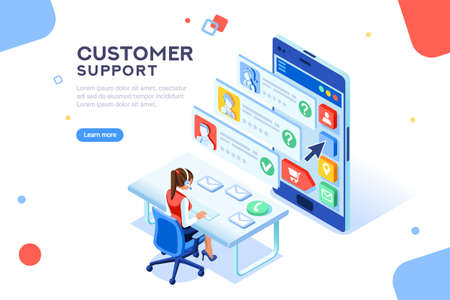 Customer support concept. Consultant on hotline chat, telemarketer. Helpdesk talking. Infographic of call center answer. Girl technical professional receptionist. Flat isometric vector illustration