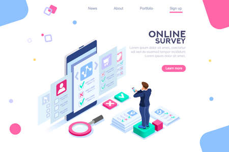Opinion, choose rating. Characters on concept of survey out evaluation. Images of vote answer. For web banner infographics hero images. Flat isometric vector illustration isolated on white background