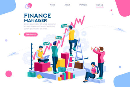 Finance and engineering graph of economics. Statistic and sales manager for financial management concept. Economic infographic banner. Flat isometric concept with characters vector illustration. Foto de archivo - 118849068