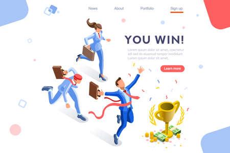 Cup-Herausforderungsbelohnung, Hauptpreisziel bei einem Finanzwettbewerb. Infografik, Gewinnerwachstum und Feier. Heldenbilder, Webbanner, flache isometrische Vektorillustration lokalisiert auf weißem Hintergrund