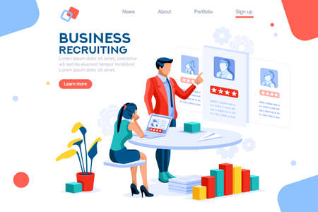 Infographic of employment leadership. Recruit for business, recruitment presentation. Job hr resource, businessman employer character with text. Flat isometric concept vector illustration. 일러스트
