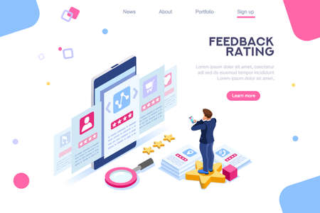 Experience, feedback to approve stars. Infographics of measurement, mark review of vote. Opinion, user choice, rating. Web banner images flat isometric vector illustration isolated on white background