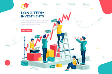 Alternativer Fortschritt, Gebäudeanzeige, Investitionsmanagement für Unternehmen. Gemeinsame Märkte und Move-Up-Deal. Karrierewachstum bei der Bank für den Erfolg. Flaches Ehrgeizkonzept mit isometrischer Vektorillustration des Charakters