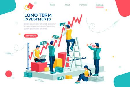 Alternatywny postęp, budowa reklamy, zarządzanie inwestycjami dla firmy. Wspólne rynki i wyższa transakcja. Rozwój kariery w banku dla sukcesu. Płaska koncepcja ambicji z izometryczną ilustracją wektorową postaci