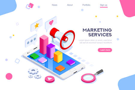 Isometric concept of Digital Marketing. 3D Modern flat design, decorated people characters. Website and mobile, website development. Illustration. Isometric landing page template.