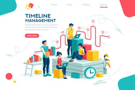 Dokumentenmanagement, Teamdenken, Brainstorming von Analyseinformationen über das Unternehmen. Uhr immer im Büro. Rund um das Zeitachsenkonzept der Infografik fliegender Präsentationsgeschichte. Flaches isometrisches Zeichen