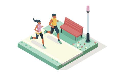 Impreza wyścigu maratonowego. Trampki fitness. Trening na drodze. Biegnij sprintem, dynamika zdrowia ludzi sprintem. Szybki jogging w grupie. Obrazy, baner internetowy, płaska izometryczna ilustracja na białym tle