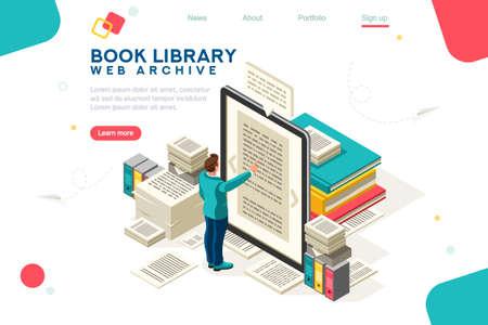 Concepto de biblioteca de libros multimedia. Libro electrónico, lectura de un libro electrónico para estudiar en la biblioteca electrónica en la escuela. E-learning online, archivo de libros. Ilustración de vector de personajes planos isométricos. Página de destino para web. Ilustración de vector