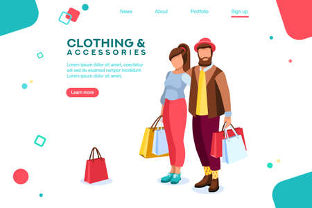 Bags for smiling. Outfits. Shopping carry. Male pair characters. Purchase clothing. Beard holding. Partners. Stylish date. Cheerful vector illustration, design in flat isometric style.
