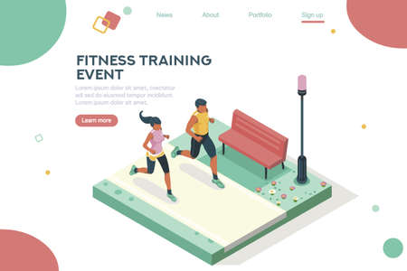 Marathon race event. Fitness sneakers. Training on the road. Run sprint, health dynamics people sprint. Jogging fast group. Images, web banner, flat isometric illustration isolated on white background Vettoriali