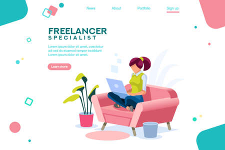 Girl sitting on the sofa works with laptop, modern freelancer template for website. Concept with characters and text for services. Web page, flat isometric infographic vector images, illustration.