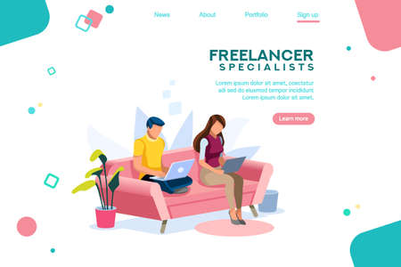 People sitting on sofa or desk, standing with leisure for guys. Internet surfing on computer. Eating character on tablet or laptop. Time online concept, 3d flat isometric style vector illustration.