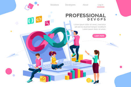 Programmer, user administrator, professional engine. Software support to build banner infographic. administration images flat technician concept, DevOps images. Isometric illustration. Foto de archivo - 122714626