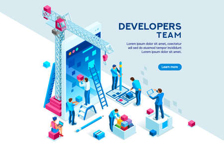 UI design concept with character and text for designer. Device content place infographic. Software group, kit for phone seo programming. UX, digital hero creative flat isometric vector illustration. Archivio Fotografico - 122714627
