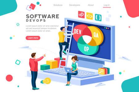Programador, administrador de usuarios, motor profesional. Soporte de software para construir banner infográfico. concepto de técnico plano de imágenes de administración, imágenes de DevOps. Ilustración isométrica.