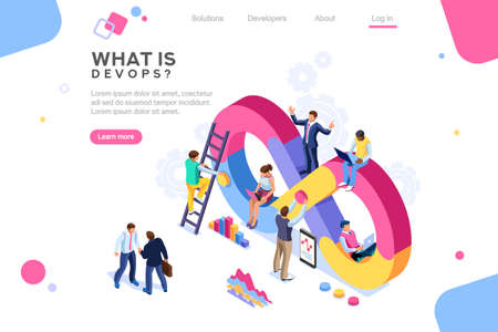 Programmer, user administrator, professional engine. Software support to build banner infographic. administration images flat technician concept, DevOps images. Isometric illustration. Banque d'images - 122714633