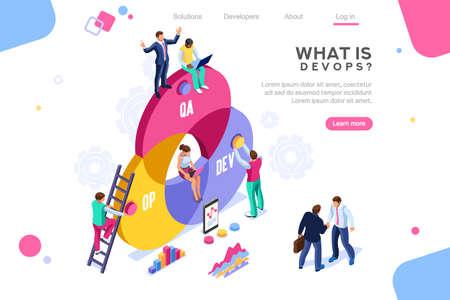 Programmatore, amministratore utenti, motore professionale. Supporto software per creare infografica banner. immagini di amministrazione concetto tecnico piatto, immagini DevOps. Illustrazione isometrica.