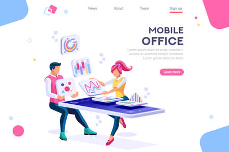 Data devices, graphs solution. User reading display. Ideas brainstorming, characters situations set. Interacting people concept. 3d images isometric vector illustrations. Ilustrace