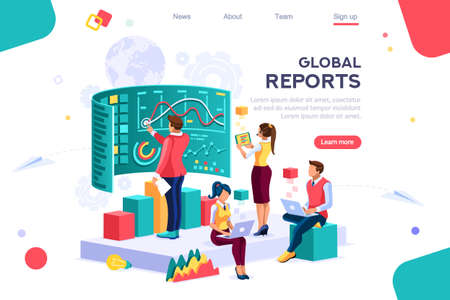 Collection, database graphs. Desktop chart analyzing, statistics visualization concept. Interacting people. 3d isometric vector illustration. 일러스트