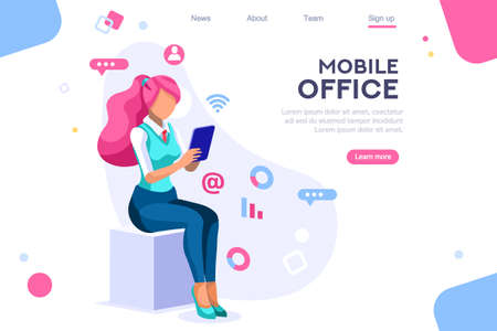 Data devices, graphs solution. User reading display. Ideas brainstorming, characters situations set. Interacting people concept. 3d images isometric vector illustrations. Çizim