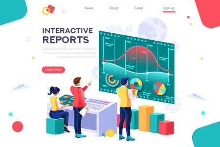 Collection, database graphs. Desktop chart analyzing, statistics visualization concept. Interacting people. 3d isometric vector illustration. Ilustração
