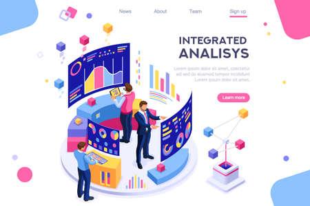 Chart analyzing, statistics visualization display. Database, desktop visualization management. Interactive analysis, brainstorming process. Programmer images isolated on white background. 3d isometric