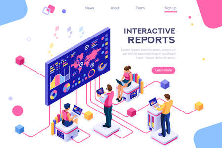 Collection, database graphs. Desktop chart analyzing, statistics visualization concept. Interacting people. 3d isometric vector illustration. Çizim