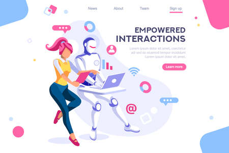Flat cyborg idea, interactive engineer image. Partnership contact. Human interaction. Banner between white background, between empty space. 3d images isometric vector illustrations. Interacting people Ilustração
