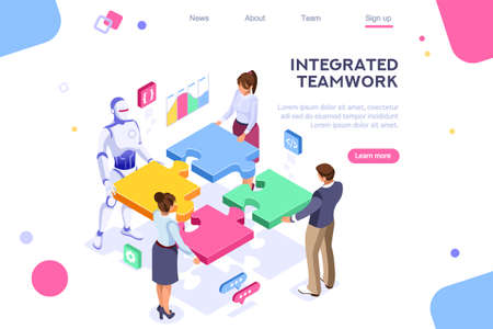 Flat cyborg idea, interactive engineer image. Partnership contact. Human interaction. Banner between white background, between empty space. 3d images isometric vector illustrations. Interacting people Фото со стока - 122714761