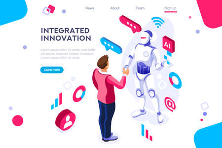 Colored hi integrated scientific innovative machine. Innovation, clever brain, artificial intelligence. Banner between white background, between empty space. 3d images isometric vector illustrations. Illustration