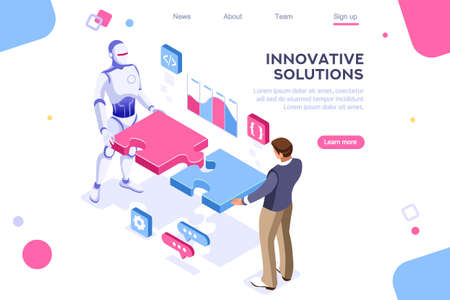 Flat cyborg idea, interactive engineer image. Partnership contact. Human interaction. Banner between white background, between empty space. 3d images isometric vector illustrations. Interacting people Фото со стока - 122714764