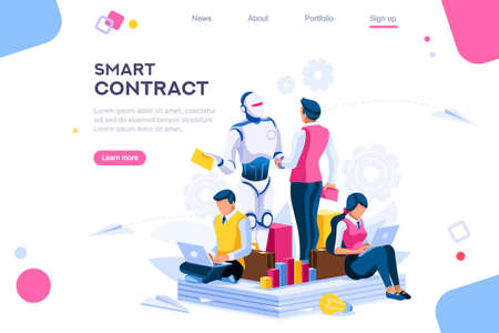 Flat cyborg idea, interactive engineer image. Partnership contact. Human interaction. Banner between white background, between empty space. 3d images isometric vector illustrations. Interacting people Фото со стока - 122714767