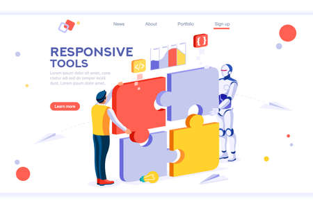 Flat cyborg idea, interactive engineer image. Partnership contact. Human interaction. Banner between white background, between empty space. 3d images isometric vector illustrations. Interacting people Illustration