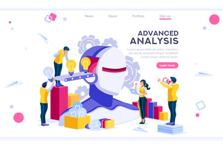 Flat cyborg idea, interactive engineer image. Partnership contact. Human interaction. Banner between white background, between empty space. 3d images isometric vector illustrations. Interacting people Иллюстрация