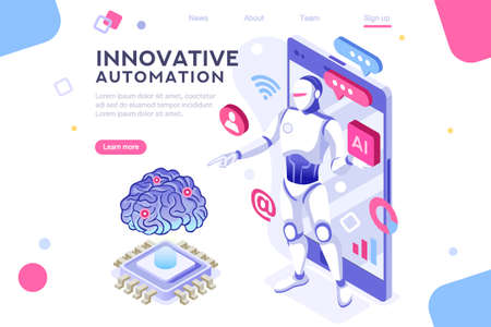 Colored hi integrated scientific innovative machine. Innovation, clever brain, artificial intelligence. Banner between white background, between empty space. 3d images isometric vector illustrations. Vectores