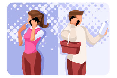 Smartphone set of telephone conversation. Cell speaking scene, talking and telling communication. Woman communication as wife. Mobile dialogue collection of partners boy and girl vector illustration