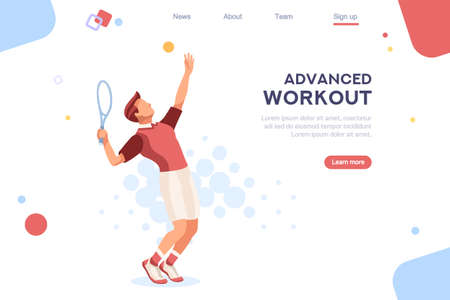 workout playing tennis. Set, sportsman uniform. Shot, match pose competition. Rings medal. Games international sports apparel. Ball hit collection. Man and racket. Athlete character flat icon