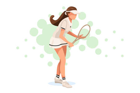 workout playing tennis. Set, sportswoman uniform. Shot, match pose competition. Rings medal. Games international sports apparel. Ball hit collection. Woman and racket. Athlete character flat
